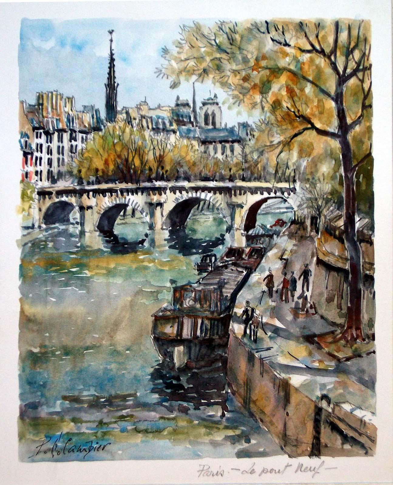 Le Pont Neuf Paris France Watercolor Signed Original
