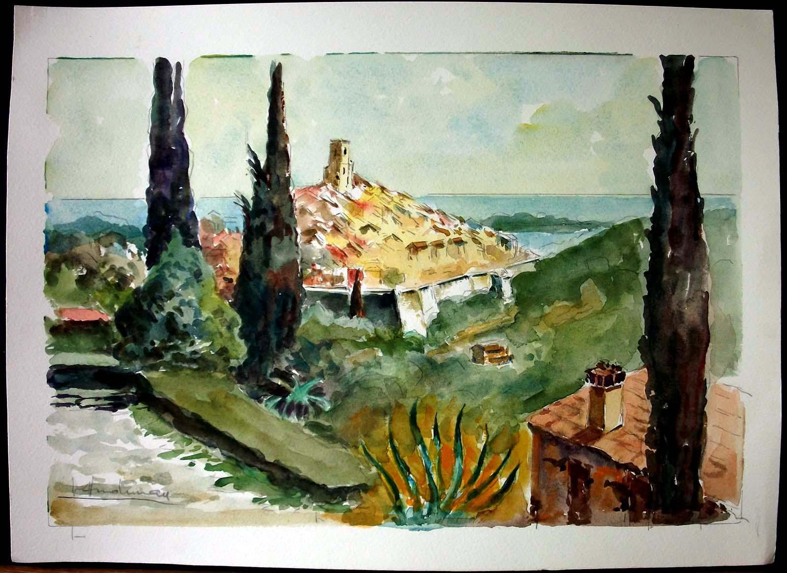 Saint Paul De Vence Art details about st. paul de vence, french riviera, original watercolor